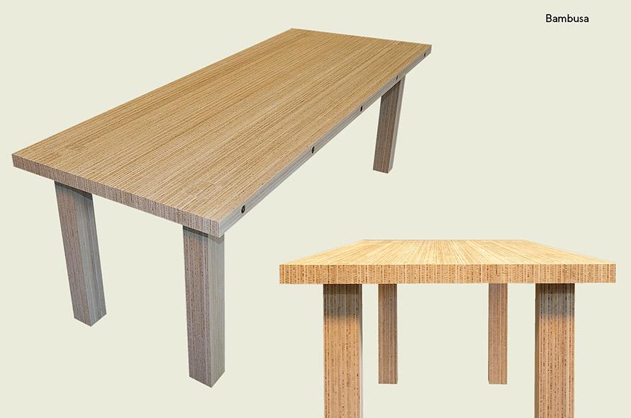 Bamboe tafel - kops bamboe