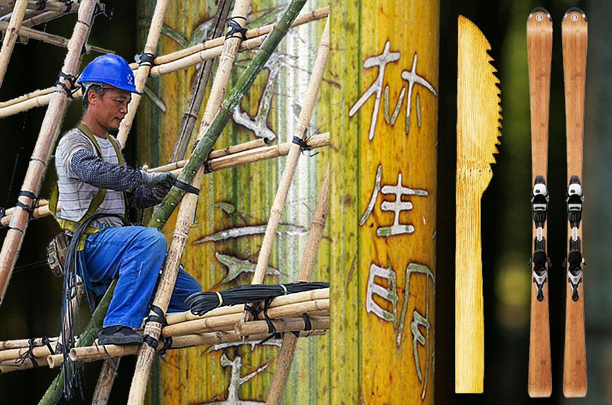 bamboe steiger, bamboe mes, bamboe skies, bamboe stam